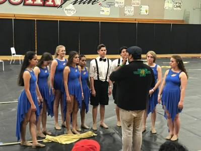 Winter Guard getting Instructions from Coach Alex Moreno